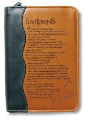 Duo Tone Footprints Bible Cover - Medium